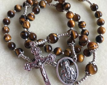 All Natural Gemstone Tiger's Eye Sacred Heart of Jesus Rosary. Our Lady of Mt Carmel Image on Reverse Side of Centerpiece.