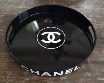 Glossy Black CNL Round Tray