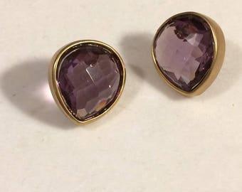 Anne Klein Purple Amethyst Color Rhinestone and Matte Goldtone Framed Post Earrings