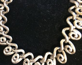 Erwin Pearl E.Pearl Sculpted Linked Modernist Collar Necklace Choker