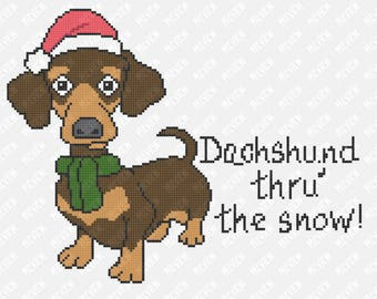 Dachshund Thru' The Snow | Dog Christmas Pattern | Counted Cross Stitch PDF Pattern | Instant Download