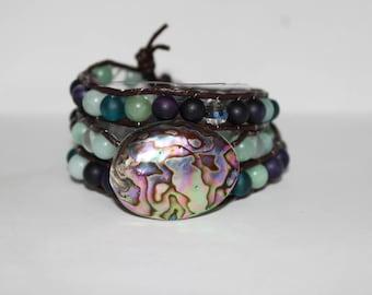 Abalone Shell and Sea Glass Women's Wraparound Bracelet