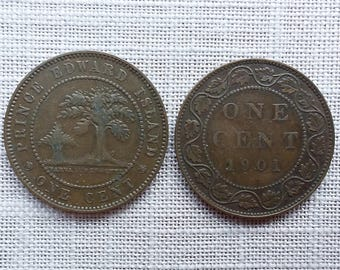 Canadian Coins ~ Prince Edward Island Coins ~ 2 Coins: 1871 & 1901, 1 Cent (Large Cent) ~ Queen Victoria ~ Bronze ~ ca04