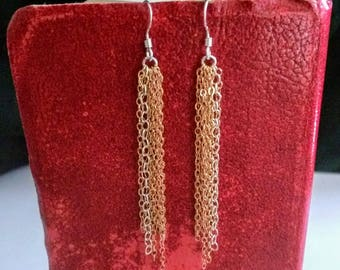 Ragged Tassel Earrings - Sterling Silver and 14K Yellow & Rose Gold Filled