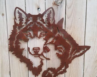Two Wolves Bonding Metal Art.  Wolves Embrace.  Rust Colored Wolves Cuddling.  Plasma Art Wolves,  Steel Cut Wolf.  Huskie Wall Hanging.