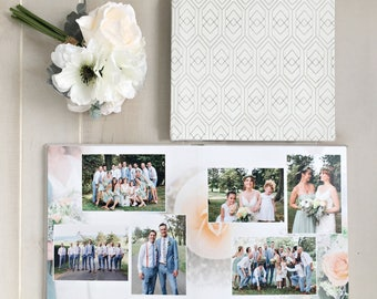 New! 12x12 Etched Leather Cover Custom Designed Wedding Album