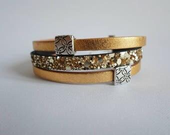 Gift idea, birthday, mother's day, leather bracelet gold, glitter
