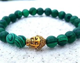 Green Malachite Yoga Bracelet * Green Malachite Bracelet * Malachite Protection Bracelet