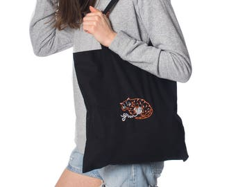 Tote bag black embroidered Tiger Grrrr