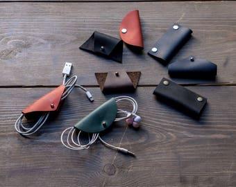 Leather Headphone Wrap, Earphone, Cable organizer, USB, Cable, headphone holder, cable tidy, cabl clip, headphone clip, headphone tidy