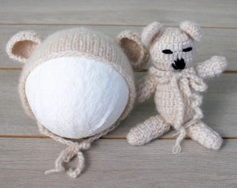 Beige Bear Bonnet & Teddy Bear Cuddle Buddy Set - Size 0-6 months
