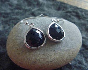 Silver Earrings: black crystal
