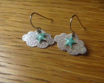 Clouds with rain drops and silver fall: Earrings
