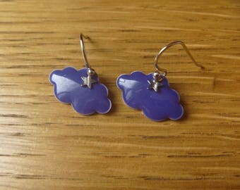 Dark blue autumn clouds and raindrops: Earrings