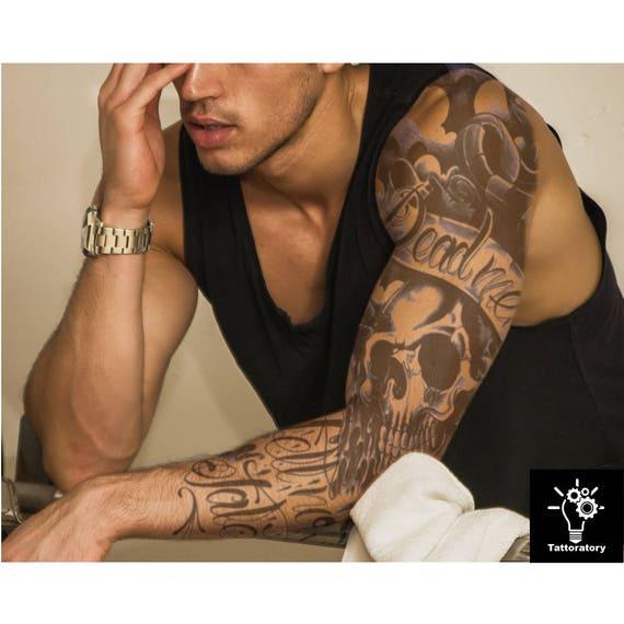 Men temporary tattoo sleeve men fake tattoo sleeve black arm for Temporary tattoos sleeve