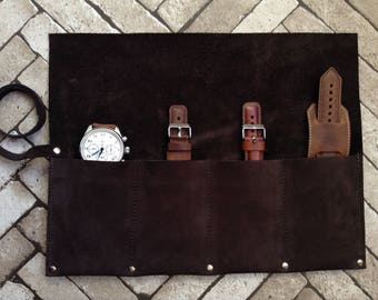 Personalized Leather Watch Roll Leather Brush roll Leather Pencil Roll Leather Watch wrap leather roll Leather Tool Roll up Watch case