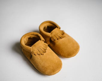 baby classic moccasins/ mustard suede leather