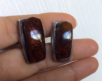Vintage USSR Russian Sterling Silver 875 Cufflinks With Natural Baltic Amber