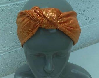 Handmade Orange Glitter Stretch Tue Headband