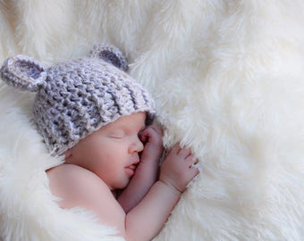 Newborn baby bear beanie - newborn bear hat - crochet bearcub hat - newborn photo prop - cute hat - baby shower gift - new baby gifts