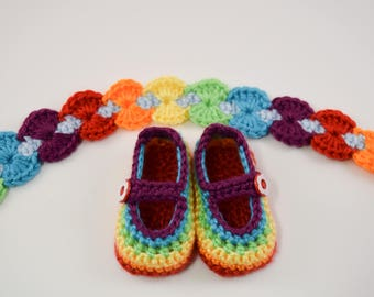 Rainbow Baby Maryjane Shoes and Headband