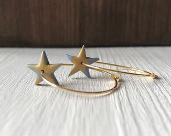 Gold hoops with star drops
