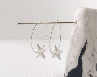 Star hoops, fimo jewellery, white earrings,  gift ideas, modern jewelry, gift under 10, Valentine's Day, delicate jewelry