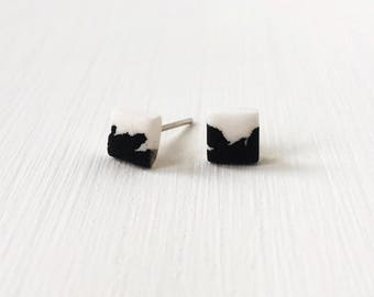 Square earrings, monochrome studs, hypoallergenic earrings, gift under 10, square studs, minimalist jewelry, contemporary jewellery