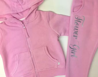 Personalised Flower girl Tracksuit, Bridesmaid, Wedding Gifts, Lounge Suit