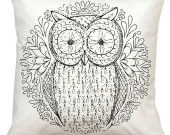 Black and White Owl2 Pillow-Adult Coloring Book Series