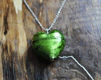 Green Murano Glass Heart Pendant