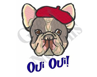 Oui Oui Bulldog - Machine Embroidery Design