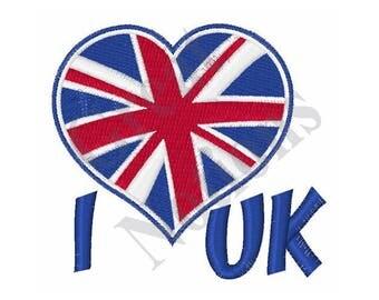I Love the UK - Machine Embroidery Design