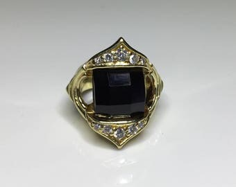 Estate Italian Designer 18K Yellow Gold .20 CTW Diamond & Onyx Ring 12.2 Grams