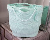 Mint Plarn Bag, Summer Beachbag, Lightweight Purse, Eco Friendly Upcycled Plastic Yarn Handbag, Black Crochet Tote