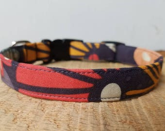 "Plum Dog Collar - Mustard Dog Collar - Coral Dog Collar - Purple Dog Collar -  Lilac Floral Dog Collar - Modern Pattern ""The Violet"""