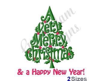 Merry Christmas & Happy New Year - Machine Embroidery Design