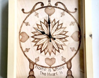 """Mantle Clock - Pyrographed 'Clock in a box'. Battery powered. """"Home is where the heart is"""""""