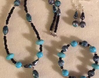 Teal Plastic Beads, Black Seed Beads, Teal Spacer Beads Beaded Necklace, Beaded Earrings, Beaded Bracelet Set