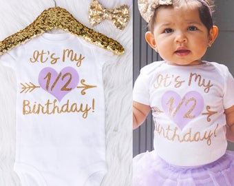 Baby Girl's It's My Half Birthday Onesie, Half Birthday Shirt, Half Birthday Outfit, 1/2 Birthday, Halfway To One Onesie, 1/2 Bday Onesie