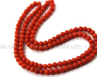 Christmas Sale Coral Smooth Round beads, Quality A, 3.50 to 4 mm, 45 cm, 115 pieces, COR-002/1, Semiprecious Gemstone beads