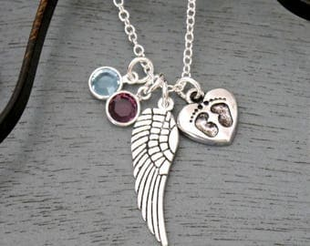 Miscarriage Gift, Miscarriages Necklace, Miscarriage Heart Necklace, Angel Wing Baby Feet Necklace, 1 2 3 Birthstones Necklace, Custom