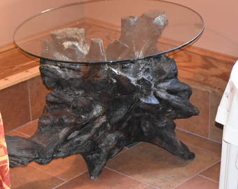 Driftwood Glass Table