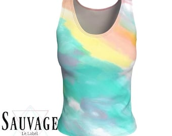 Pastel Watercolors  - Athletic (like for yoga) (or not) Fitted tank top for the wild ones - Totally handmade in Montreal - S to XL