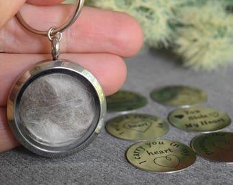 Pet Hair Memorial Keychain, Loss of a Pet, Glass Floating Locket, Fur Memorial Locket, Pet Loss Keychain Locket, Memorial Jewelry