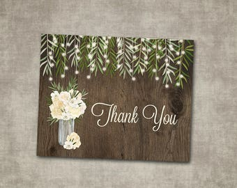 Thank You Card Wedding White Cream Greenery String Lights Floral Roses Rustic Natural Barn Wood Country String Lights Printable or Printed