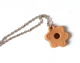 Chocolate cookie shaped necklace