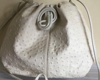 Vintage Leather Crossbody Bag: leather clutch, white leather, Susan Gail, vintage purse, white handbag, vintage leather, purse
