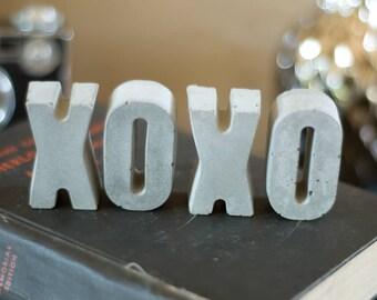 XOXO Concrete Letters - Hugs and Kisses - Mini Concrete Letters - Cute Gift - Small Gift - Gift for Home.