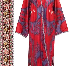 uzbek beautiful handmade natural cotton ikat robe chapan b646